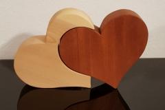 Zwei Herzen Ahorn und Mahagoni